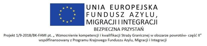 """Logo UE Fundusz Azylu, Migracji i Integracji """"Bezpieczna Przystań"""""""
